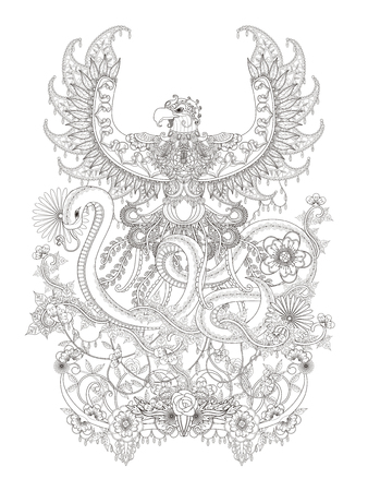 spread around: Gorgeous adult coloring page, eagle spread its wings with snake hiss, decorative floral elements around them. Illustration