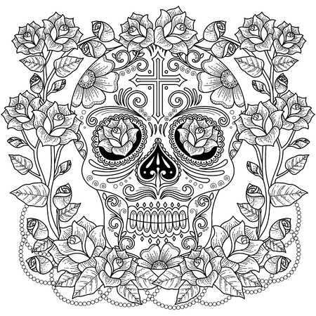 Fantastic adult coloring page, magnificent skull with roses and cross. Anti-stress pattern for coloring. Illustration