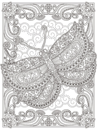 is magnificent: Graceful adult coloring page, magnificent moth with floral decorations. Anti-stress pattern for coloring.