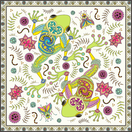 two page: Fantastic adult coloring page, top view of two frogs, decorative floral elements around them.