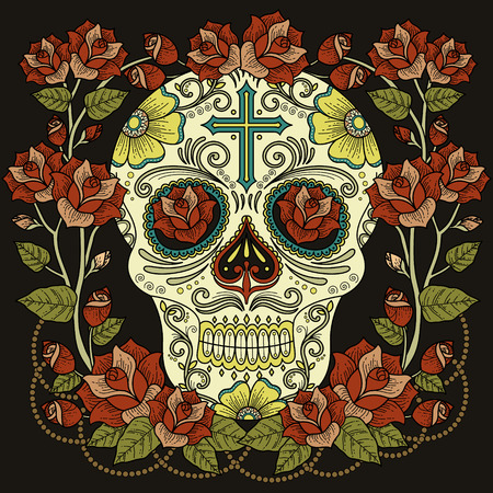 Fantastic adult coloring page, magnificent skull with roses and cross isolated on black background