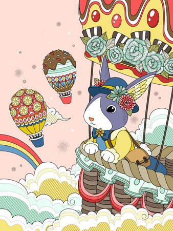 air liner: Lovely adult coloring page, miss rabbit takes hot air balloon ride to the sky