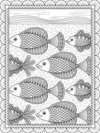 Elegante Página Para Colorear Para Adultos, Precioso Pez Nadador ...