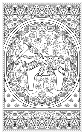 patten: Elegant adult coloring page, retro rocking horse with floral decorations, anti-stress patten for coloring