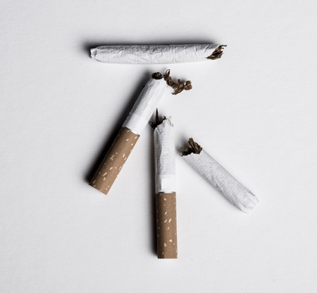 No smoking concept, top view of no in chinese word made with broken cigarettes