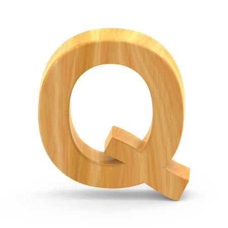 3D rendering wooden grain letter Q isolated on white background, light brown wooden grain, natural surface grain