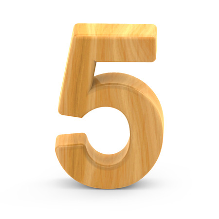 number 5: 3D rendering white number 5 isolated on white background, light brown wooden grain, natural surface grain