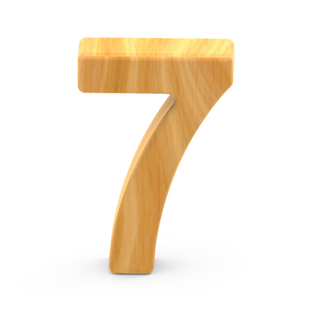number 7: 3D rendering white number 7 isolated on white background, light brown wooden grain, natural surface grain