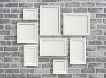 frame wall: 3D illustration of blank frames isolated on old grey brick wall