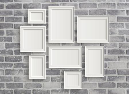 Illustrazione 3D di fotogrammi in bianco isolato sul vecchio muro di mattoni grigi Archivio Fotografico - 63358608