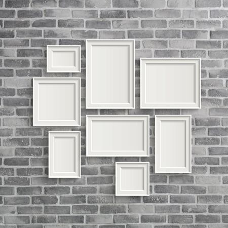 frame on wall: 3D illustration of blank frames isolated on old grey brick wall