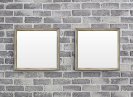 cement wall: 3D illustration of blank frames isolated on old grey brick wall