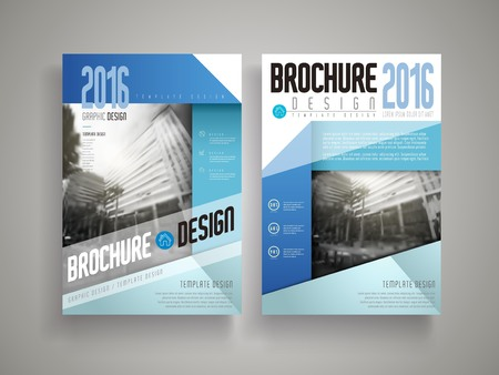paper fold: Flyer or Cover design with street scene in grey. Blue and white paper fold elements.
