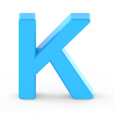 light blue letter K, 3D rendering graphic isolated white background