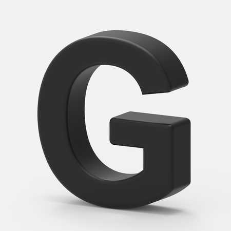 italics: 3d right leaning black letter G, 3D rendering graphic isolated white background