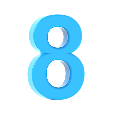3d left leaning light blue number 8, 3D rendering graphic isolated white background