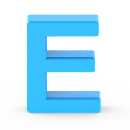 single word: light blue letter E, 3D rendering graphic isolated white background