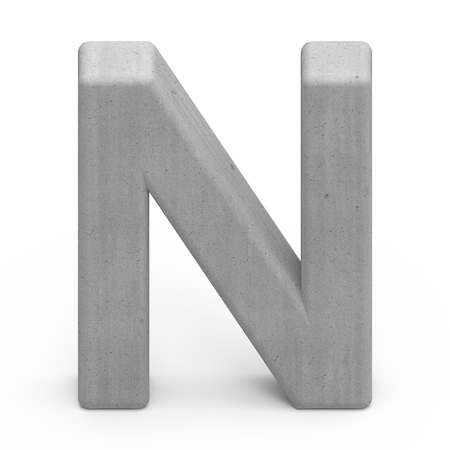 single word: 3d gray concrete letter N, 3D rendering graphic isolated on white background