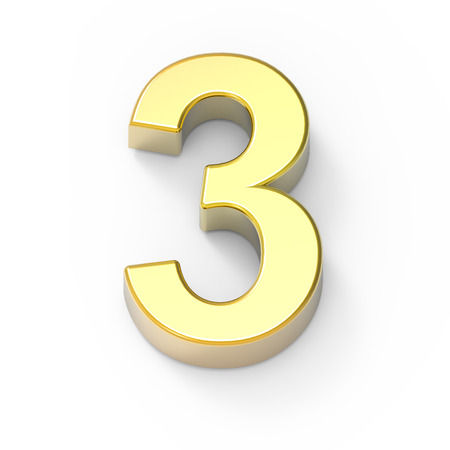 3d Matte gold number 3, 3D rendering graphic isolated white background