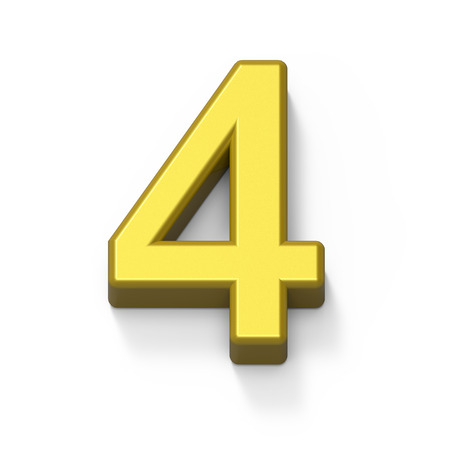 3d Matte gold number 4, 3D rendering graphic isolated white background