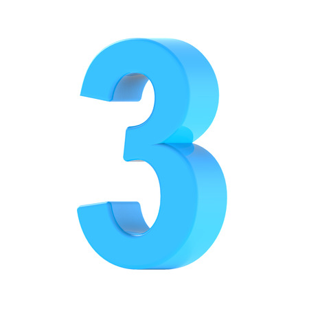 3d right leaning light blue number 3, 3D rendering graphic isolated white background