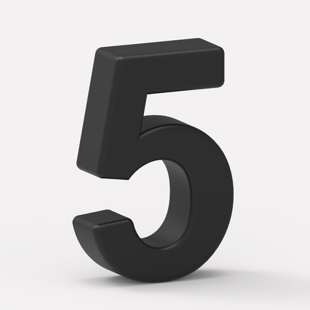 italics: 3d left leaning black number 5, 3D rendering graphic isolated white background