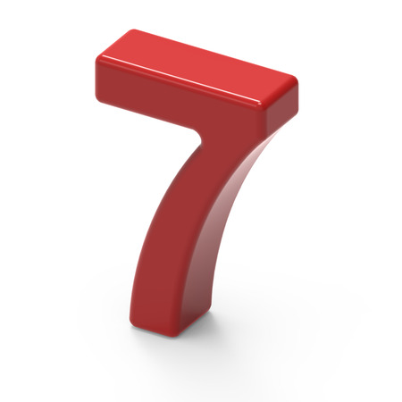 top 7: 3D rendering smooth red number 7 isolated on white background, smooth texture red number, top view right side