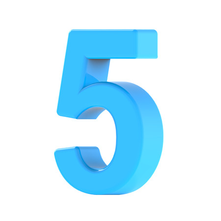 3d right leaning light blue number 5, 3D rendering graphic isolated white background