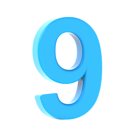3d left leaning light blue number 9, 3D rendering graphic isolated white background