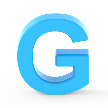 isolated on white: light blue letter G, 3D rendering graphic isolated white background Stock Photo