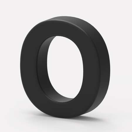 italics: 3d right leaning black letter O, 3D rendering graphic isolated white background
