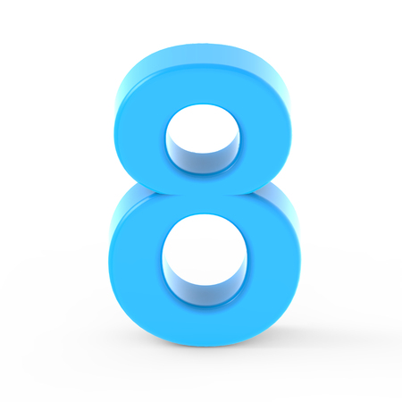 light blue number 8, 3D rendering graphic isolated white background