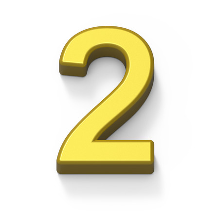 3d Matte gold number 2, 3D rendering graphic isolated white background