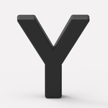 single word: 3d black letter Y, 3D rendering graphic isolated white background Stock Photo