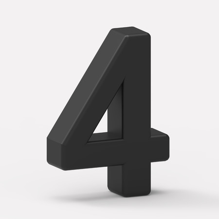 italics: 3d left leaning black number 4, 3D rendering graphic isolated white background Stock Photo