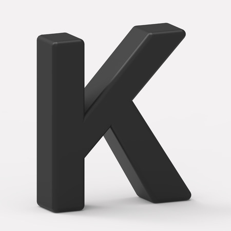 italics: 3d left leaning black letter K, 3D rendering graphic isolated white background Stock Photo