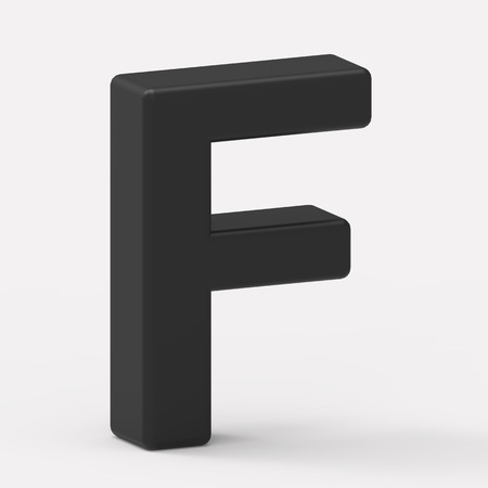 italics: 3d left leaning black letter F, 3D rendering graphic isolated white background
