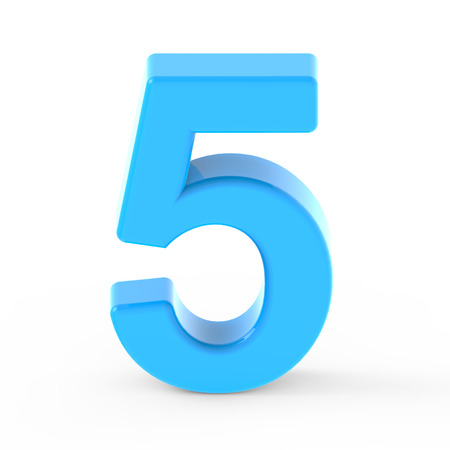 light blue number 5, 3D rendering graphic isolated white background