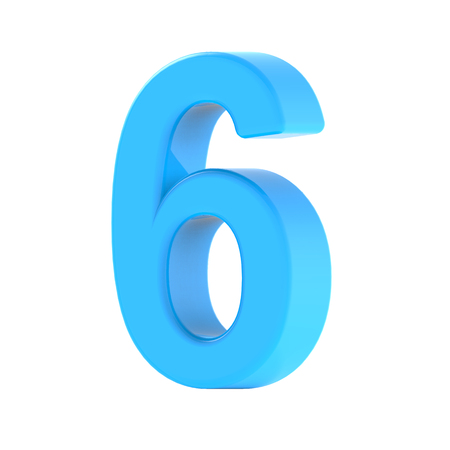 3d right leaning light blue number 6, 3D rendering graphic isolated white background
