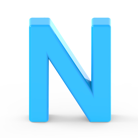 single word: light blue letter N, 3D rendering graphic isolated white background Stock Photo