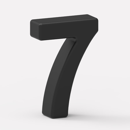 italics: 3d left leaning black number 7, 3D rendering graphic isolated white background