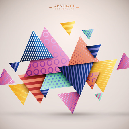 Abstracte geometrische achtergrond, driehoek elementen met strepen en gestippeld patroon op hen, kleurrijke geometrische sjabloon voor poster, kaart of achtergrond