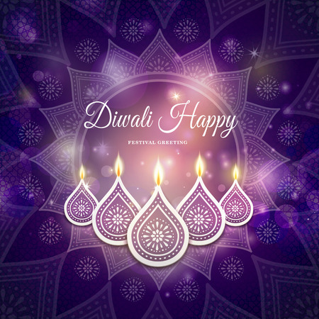 happy diwali festival greeting text, with candle decorations and purple background