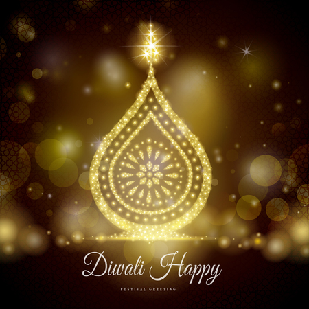 happy diwali festival greeting text, with candle decorations and black background