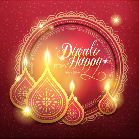lakshmi: happy diwali festival greeting text, with candle decorations and red background