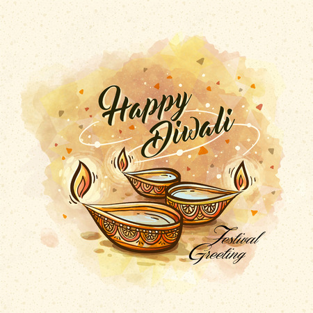happy diwali festival greeting text, with oil lamp decorations and white background