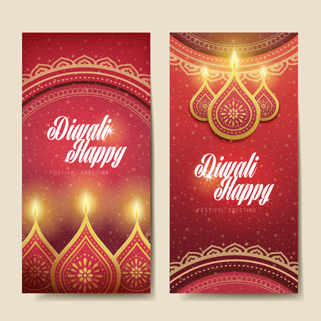 happy diwali festival greeting text card, with candle decorations and white background
