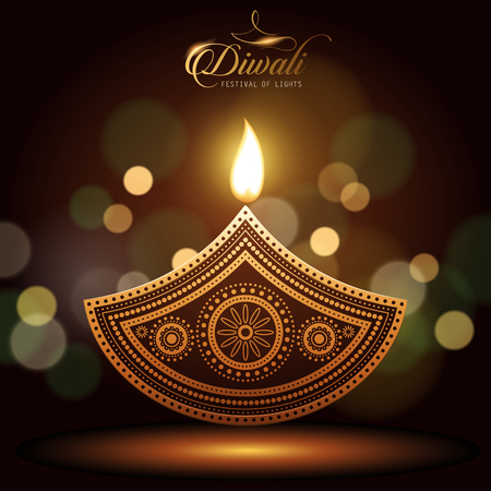 text happy diwali and candle decorations on dark background
