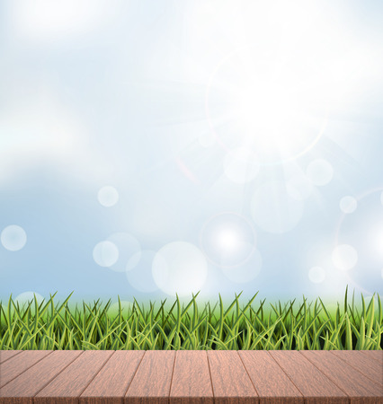wood grass: close-up look at natural grass background, 3d rendering wood plate, bokeh background