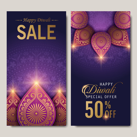 sparkling: text happy diwali special offer 50 percent off and decorations on purple background